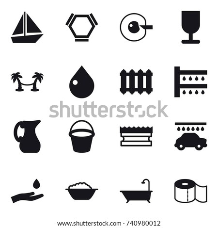 16 Vector Icon Set Boat Hex Stock Vector (Royalty Free) 740980012
