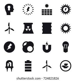 16 vector icon set : bulb head, lightning, sun power, windmill, nuclear power, sun, electricity, ecology