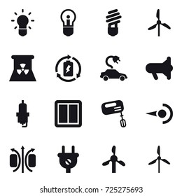 16 vector icon set : bulb, windmill, nuclear power, battery charge, electric car, megafon, spark plug, power switch, mixer