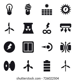 16 vector icon set : bulb, sun power, windmill, nuclear power, infinity power, air conditioning, electricity, power switch
