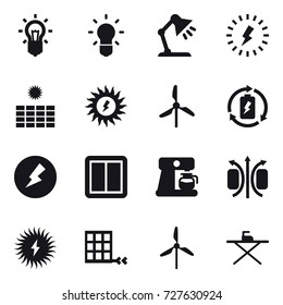 16 vector icon set : bulb, table lamp, lightning, sun power, windmill, battery charge, electricity, power switch, coffee maker, iron board