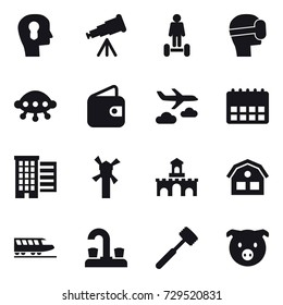 16 vector icon set : bulb head, telescope, hoverboard, virtual mask, ufo, wallet, journey, houses, windmill, fort, house, train, water tap, meat hammer, pig