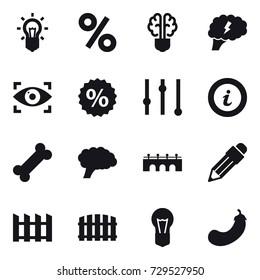 16 vector icon set : bulb, percent, bulb brain, brain, eye identity, equalizer, info, bridge, pencil, fence, eggplant