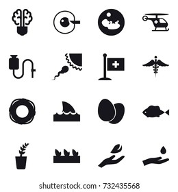 16 vector icon set : bulb brain, cell corection, lifebuoy, shark flipper, seedling, hand leaf, hand and drop