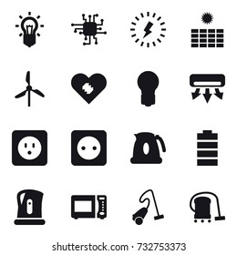 16 vector icon set : bulb, chip, lightning, sun power, windmill, air conditioning, power socket, kettle, vacuum cleaner