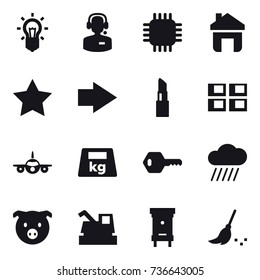16 vector icon set : bulb, call center, chip, home, star, right arrow, lipstick, panel house, key, rain cloud, pig, harvester, hive, broom