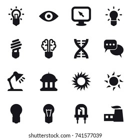 16 vector icon set : bulb, eye, monitor arrow, bulb brain, dna, discussion, table lamp, goverment house, sun