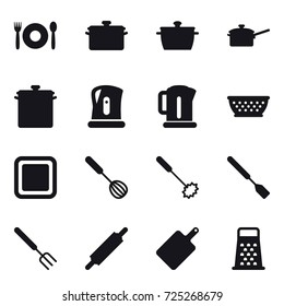 16 vector icon set : cafe, pan, saute pan, kettle, kolander, cutting board, whisk, spatula, big fork, rolling pin