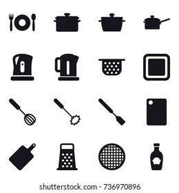 16 vector icon set : cafe, pan, saute pan, kettle, colander, cutting board, whisk, spatula