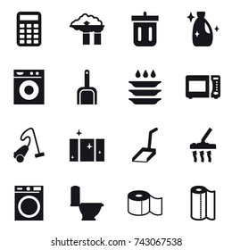 16 vector icon set : calculator, factory filter, bin, cleanser, washing machine, scoop, plate washing, vacuum cleaner, clean  window, toilet, toilet paper, paper towel