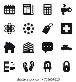 16 vector icon set : calendar, newspaper, calculator, satellite, atom, round around, label, home, car baggage, hotel, flip-flops
