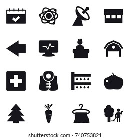 16 vector icon set : calendar, atom, satellite antenna, market, left arrow, barn, first aid, life vest, watering, tomato, spruce, carrot, hanger, garden cleaning
