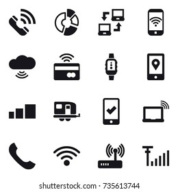 16 vector icon set : call, circle diagram, notebook connect, phone wireless, cloud wireless, tap to pay, smartwatch, trailer, mobile checking