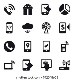 16 vector icon set : call, gift, touch, diagram, phone wireless, cloud wireless, antenna, mobile pay, phone, mobile checking