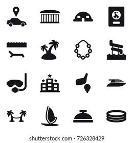 16 vector icon set : car pointer, airport building, dome house, passport, lounger, island, hawaiian wreath, aquapark, diving mask, hotel, golf, yacht, palm hammock, windsurfing, service bell