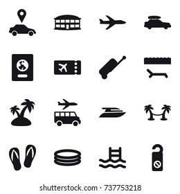 16 vector icon set : car pointer, airport building, plane, car baggage, passport, ticket, suitcase, lounger, island, transfer, yacht, palm hammock, flip-flops, inflatable pool, pool, do not distrub