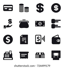 16 vector icon set : card, coin stack, dollar, investment, purse, money, diagram, dollar coin, account balance, mobile pay, wallet, cashbox, atm receipt, atm