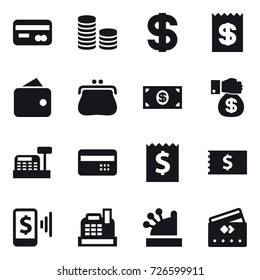 16 vector icon set : card, coin stack, dollar, receipt, wallet, purse, money, money gift, cashbox, credit card, mobile pay