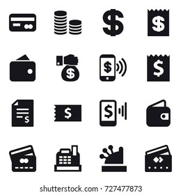 16 vector icon set : card, coin stack, dollar, receipt, wallet, money gift, phone pay, account balance, mobile pay, credit card, cashbox