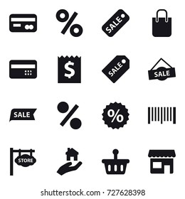 16 vector icon set : card, percent, sale, shopping bag, credit card, receipt, sale label, barcode, store signboard, real estate, shop