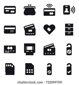16 vector icon set: card, purse, tap to pay, pass card, credit card, atm, do not distrub, please clean