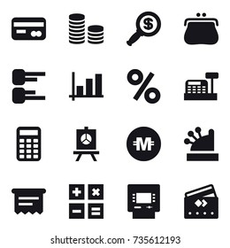 16 vector icon set : card, coin stack, dollar magnifier, purse, diagram, graph, percent, cashbox, calculator, presentation, crypto currency, atm receipt, atm, credit card