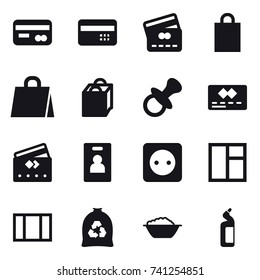 16 vector icon set : card, credit card, shopping bag, nipple, identity card, power socket, window, garbage bag, foam basin, toilet cleanser
