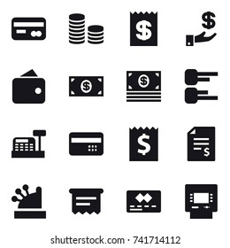 16 vector icon set : card, coin stack, receipt, investment, wallet, money, diagram, cashbox, credit card, account balance, atm receipt, atm