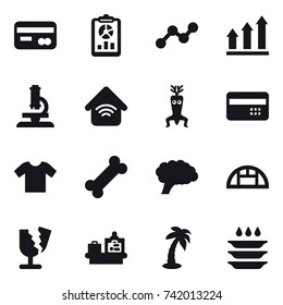 16 vector icon set : card, report, graph, graph up, microscope, wireless home, dna modify, credit card, t-shirt, greenhouse, baggage checking, palm, plate washing
