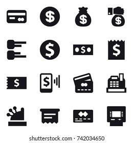 16 vector icon set : card, dollar, money bag, money gift, diagram, dollar coin, money, receipt, mobile pay, credit card, cashbox, atm receipt, atm