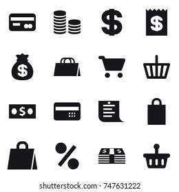 16 vector icon set : card, coin stack, dollar, receipt, money bag, shopping bag, cart, basket, money, credit card, shopping list, percent