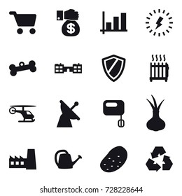 16 vector icon set : cart, money gift, graph, lightning, bone, school, shield, radiator, factory, watering can, potato, recycling