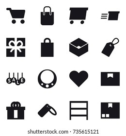 16 vector icon set : cart, shopping bag, delivery, gift, box, label, sale, necklace, rack, package