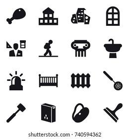 16 vector icon set : chicken leg, cottage, modern architecture, arch window, architector, tourist, antique column, alarm, crib, radiator, skimmer, meat hammer, scraper