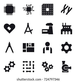 16 vector icon set : chip, cpu, draw compass, factory, drawing compass, gears, water pump