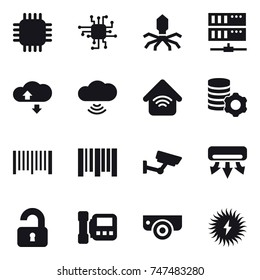 16 vector icon set : chip, virus, server, cloude service, cloud wireless, wireless home, virtual mining, barcode, surveillance, air conditioning, unlocked, intercome, surveillance camera