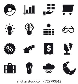 16 vector icon set : circle diagram, graph, gift, delivery, bulb, bulb brain, sun power, smart glasses, percent, houses, suitcase
