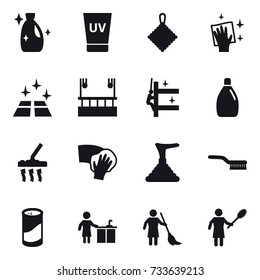 16 vector icon set : cleanser, uv cream, rag, wiping, clean floor, skyscapers cleaning, skyscrapers cleaning, vacuum cleaner, plunger, brush, cleanser powder, kitchen cleaning, brooming