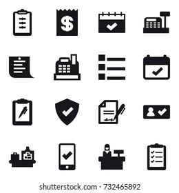 16 vector icon set : clipboard, receipt, calendar, cashbox, shopping list, list, check in, baggage checking, mobile checking, reception, clipboard list