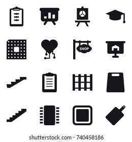 16 vector icon set : clipboard, presentation, graduate hat, cpu, cardio chip, shop signboard, stairs, cutting board