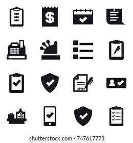 16 vector icon set : clipboard, receipt, calendar, shopping list, cashbox, list, check in, baggage checking, mobile checking, clipboard list