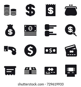 16 vector icon set : coin stack, dollar, receipt, purse, money bag, money, diagram, dollar arrow, hand coin, dollar coin, credit card, atm receipt, atm