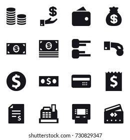16 vector icon set : coin stack, investment, wallet, money bag, money, diagram, hand coin, dollar coin, credit card, receipt, account balance, cashbox, atm