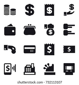 16 vector icon set : coin stack, dollar, receipt, investment, wallet, purse, money gift, diagram, hand coin, credit card, mobile pay, cashbox, atm