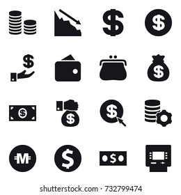 16 vector icon set : coin stack, crisis, dollar, investment, wallet, purse, money bag, money, money gift, dollar arrow, virtual mining, crypto currency, dollar coin, atm