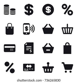 16 vector icon set : coin stack, dollar, percent, shopping bag, phone pay, basket, credit card, account balance, remove from basket
