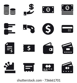 16 vector icon set : coin stack, investment, money, diagram, hand coin, dollar coin, credit card, account balance, receipt, wallet, cashbox, atm receipt