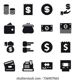 16 vector icon set : coin stack, receipt, dollar, investment, wallet, purse, money, money gift, diagram, dollar coin, credit card, cashbox, atm