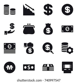16 vector icon set : coin stack, crisis, dollar, investment, purse, money bag, money, money gift, dollar arrow, virtual mining, crypto currency, atm