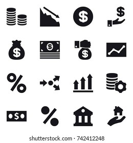 16 vector icon set : coin stack, crisis, dollar, investment, money bag, money, money gift, statistic, percent, core splitting, graph up, virtual mining, library, real estate
